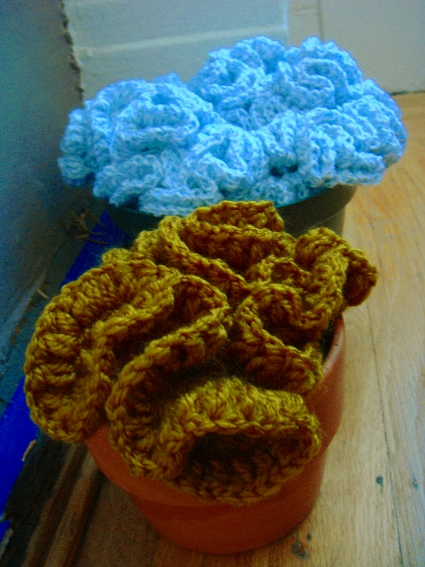 Potted Crochet Flower Bouquets crocheted by Kathryn Vercillo