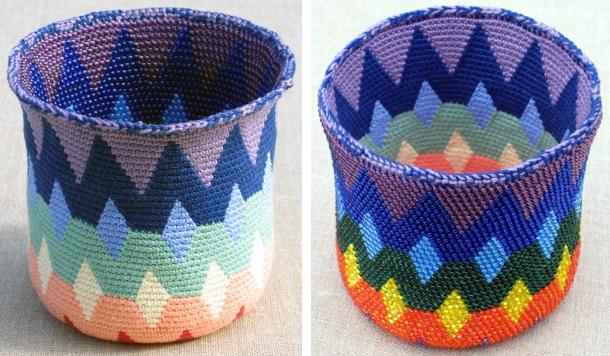 Spectral Reversible Bead Tapestry Crochet Basket by Carol Ventura
