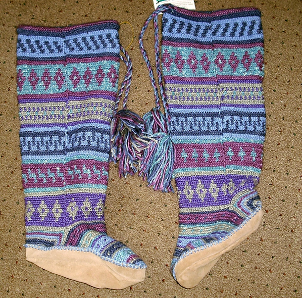Mukluks crocheted by Valerie Martin