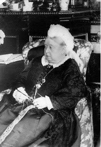 Another picture of Queen Victoria crocheting.
