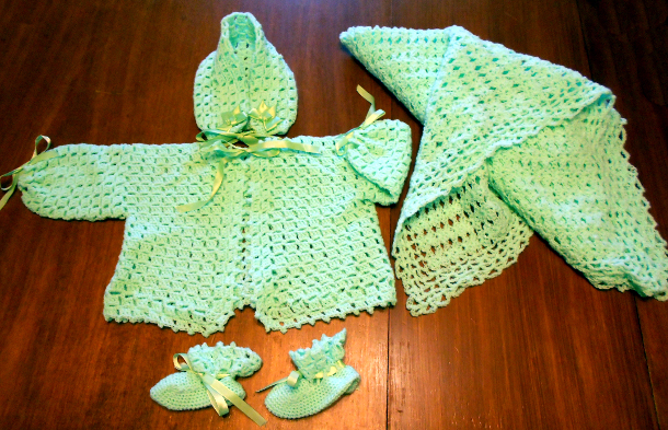Layette crocheted by Loma Lenore Stickler