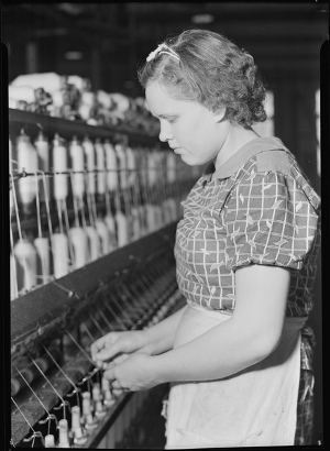 Spinner at Pickett Yarn Mill, ca. 1941