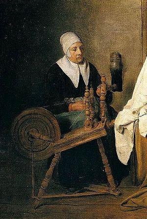 Interior with an Old Woman at a Spinning Wheel by Esaias Boursse, 1667
