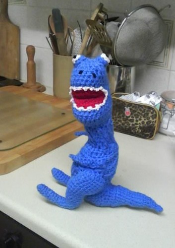 Joseph's T-Rex, crocheted by Christine