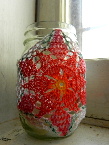 Poinsettia Jar Cozy by Julia Schwartz