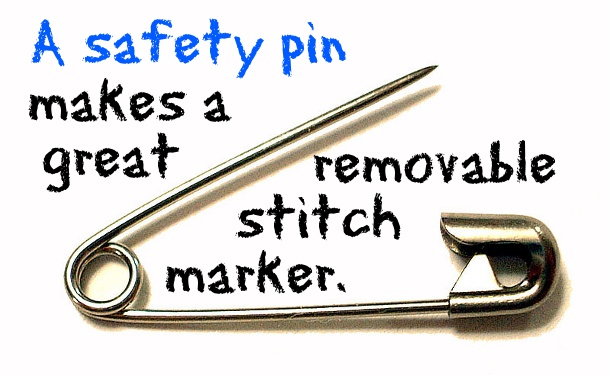 Safety pins can be stitch markers and other crochet hacks.